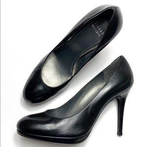 Stuart Weitzman black leather round toe platform heels size 8.5